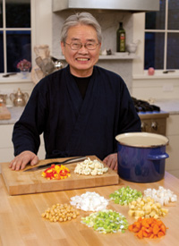 Yasuo Mori prepares a pot of Chi Soup